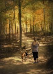 In Awe of Autumn (jackwilsonphotoart) Tags: pet ohio leaves trail path lady dog hike color fall autumn