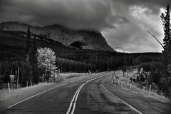Storm Mountain and a Highway Intersection in the Canadian Rockies (Black & White, Banff National Park) (thor_mark ) Tags: nikond800e day4 triptoalbertaandbritishcolumbia banffnationalpark stormmountain lookingsw overcast silverefexpro2 blackwhite capturenx2edited colorefexpro outside nature landscape mostlycloudy cloudsaroundmountains lowclouds cloudsswirlingaround rockymountains canadianrockies mountains mountainsindistance mountainsoffindistance trees evergreens hillsideoftrees banffwindermereparkway highway93 highway road centerstripe centerstripes standinginmiddleofroad standinginroad southerncontinentalranges banfflakelouisecorearea ballrange streetsigns streetlights highwayinterchange project365 alberta canada