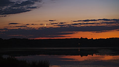 """""""Late Landscapes"""" (westwood outdoors) Tags: moon sunset moonset lake clouds minolta 28mm colors germany westerwald"""