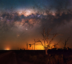 Milky Way at Quairading, Western Australia (inefekt69) Tags: milky way quairading panorama stitched mosaic msice milkyway southern hemisphere cosmos western australia dslr long exposure rural night photography nikon stars astronomy space galaxy astrophotography outdoor core great rift ancient sky 35mm d5500 landscape tree tracked ioptron skytracker yoting