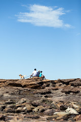 Family Sunday (Mikey Down Under) Tags: aussie australia family lifestyle dog golden retriever beach rocks blue sky