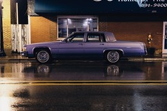 Sweet Cadillac (dangaken) Tags: fujifilm fuji caddy puremichigan midmichigan greatlakesbay gogreatlakesbay michigan mi baycitymi baycity bluecadillac weather nightphotography nightime dark rainynight night rain oldcar classiccar vintagecar car