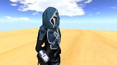 Mandalorian Buy'ce Scarf (SOLD) (Haj'ra Legacy) Tags: mandalorian secondlife 3d model blender mesh rigged fitmesh buyce scarf commission blue helmet jedi sith sl lambda corporation