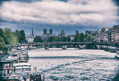 A Scene Seen on the Seine (Katrina Wright) Tags: france paris dsc5449edit seine water bridge cloud postprocessed boats ripples vignetting
