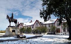 Fort Calgary. (Bernard Spragg) Tags: history calgery snow statue lumix fort calgary alberta travelcompact camera cco canada