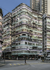 Sham Shui Po, HK (mikemikecat) Tags: one person man only old buildings town hong kong architecture traditional corner building exterior city built structure day street residential district life incidental people nature sky transportation road outdoors mode real office land vehicle apartment skyscraper