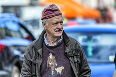 Country sports man (Frank Fullard) Tags: frankfullard fullard candid street portrait jumper logo country rural sport spotsman hunter hunting shoot shooting shooter game cap color colour moustache tasch mohill leitrim irish ireland