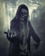 The Beckoning (gimmeocean) Tags: halloween skeleton scary fullmoon graveyard dark moody night katesbackdrop fabricbackdrop backdrop skull spooky foggy fog vertical vert moon