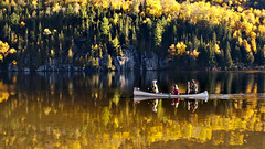 Canoeing through fall's colors (Gael Varoquaux) Tags: fallcolors autumn reflections canoe boat trees colors