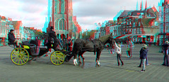 Markt Delft 3D (wim hoppenbrouwers) Tags: markt delft 3d paard anaglyph stereo redcyan rijtuig