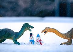 dinosaur holiday card (auntneecey) Tags: dinosaurs snow toys holidays snowmen hss sliderssunday 365the2019edition 3652019 day300365 27oct19