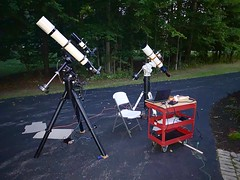 Twin scope setup in driveway for imaging. (pa_cosgrove) Tags: