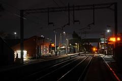 Marston Green (sgreen757) Tags: nikon d7000 18105mm vr nikkor lens 2019 marston green train rail railway station tracks electrified overhead wires night dark lights long exposure empty birmingham midlands