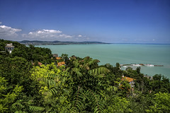 Lake Balaton (Wim van de Meerendonk, loving nature) Tags: lake balaton lakebalaton hungary turqoise tihany panorama blue bright color colors colours colour clouds cloud green hill hills landscape outdoors outdoor sony sky sun scenic tree trees view wimvandem astoundingimage abigfave