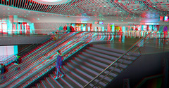 Station Delft 3D (wim hoppenbrouwers) Tags: station delft 3d anaglyph stereo redcyan trap stairs