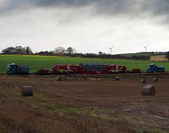 Low and slow. (HivizPhotography) Tags: allelys heavyhaulage heavy abnormal load man tgx v8 stgo cat 3 goldhofer faktor 55 trucks scotland aberdeenshire new deer substation transformer construction iron