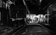 Inside the Shed (photofitzp) Tags: didcotmotivedepot gwr bw blackandwhite timelineevents nightphotography railways locomotives nikefex