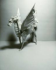Winged Kirin - Satoshi Kamiya (GGIamBatman) Tags: origami papiroflexia art papel sculpture satoshi kamiya winged kirin dragon