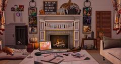 All work, no play. (AlyceAdrift) Tags: fall autumn decor livingroom blogger secondlife secondlifeblogger gooseberry tlcanimals tlc wine ipad work relax fireplace peaches halloween dog dogmom pumpkins candle candles evening relaxing planner working firewood tuesdays sayo mossmink