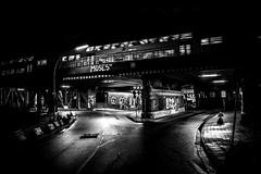 leaving Hamburg (blende9komma6) Tags: hamburg leaving verlassen night nacht train oberhafen germany light licht ricoh griii gr oberhafenkantine topsprayer moses taps grafitti streetart street city urban art bw sw zug brücke river elbe flus bridge