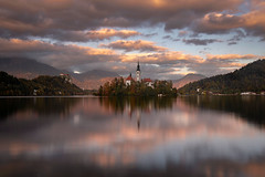Lake of bled at sunset (Palnick) Tags: architecture autumn blue building exterior castle church cloud sky dusk europe forest hill idyllic island julian alps lake landscape scenery mountain nature night old outdoors pond reflection scenics slovenia summer sun sunset tourism tower travel tree water winter alpine background beautiful bled calm clouds destination european famous landmark romantic scenic catholic green vacation view