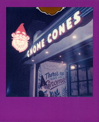 Gnome Cones (tobysx70) Tags: polaroid originals color film for 600 type cameras frames edition expired purple slr680 gnome cones north elm street denton texas tx neon sign illuminated lit night nocturnal snow cone snocone shave ice restaurant theresnoplacelikegnome divot polacon4 polacon2019 polacon 092819 toby hancock photography