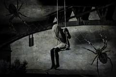 Under Le Pont St Pierre (Shastajak) Tags: mannequin girl swing suspendedfromthebridge lifelike realistic creepy sliderssunday lightroomcc photoshopcc niksilverefexpro collage spiders webs blacktights cobwebs toulouse southwestfrance