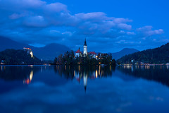 Lake of bled at Dusk (Palnick) Tags: architecture autumn blue building exterior castle church cloud sky dusk europe forest hill idyllic island julian alps lake landscape scenery mountain nature night old outdoors pond reflection scenics slovenia summer sun sunset tourism tower travel tree water winter alpine background beautiful bled calm clouds destination european famous landmark romantic scenic catholic green vacation view