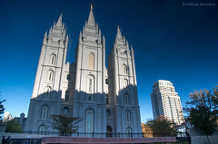 LDS Temple on the Holodeck (Bill Herndon) Tags: flickr k30 ldschurch pentax saltlakecity usa unitesstates utah cathedral church inverted mornom published reflection water wrherndon unitedstatesofamerica