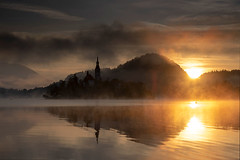 Lake of bled at sunrise (Palnick) Tags: architecture autumn blue building exterior castle church cloud sky dusk europe forest hill idyllic island julian alps lake landscape scenery mountain nature night old outdoors pond reflection scenics slovenia summer sun sunset tourism tower travel tree water winter alpine background beautiful bled calm clouds destination european famous landmark romantic scenic catholic green vacation view