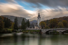 The church of St. John the Baptist at Lake Bohinj at sunset (Palnick) Tags: architecture autumn baptist bohinj church cloud sky environment europe european alps forest gorenjska hill john journey lake mountain nature pond river season slovenia summer tourism travel tree triglav national park valley water alpine background beautiful bled bohinjsko bridge clouds colorful julian landscape natural outdoor ribcev scenery scenic view green trip