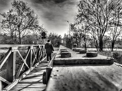 From a rivet perspective (wojciechpolewski) Tags: rivet perspective blackandwhite blanconegro blackwhite schwarzweis blancoenegro photos photo poland boy river water trees wpolewski sky autumn