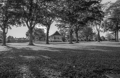 B&W Park bandstand (williams19031967) Tags: grass bandstand monochrome trees park white black cybershot a7 sony