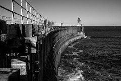 14 of 52 Whitby. Sun-27.10.19 (StevieLad62) Tags: coast railings sea 52 52weekchallenge monochrome white black pier whitby yorkshire north xt2 fuji
