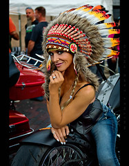 Chief Kellie (Whitney Lake) Tags: woman girl pinup feathers chief indiana rally motorcycle jonesboro kellie headress