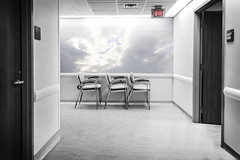 Exit (JD's Photography) Tags: toronto ontario canada pmh princessmargarethospital surreal abstract on1 chairs heaven sky powerfulclouds desaturated cancercenter jdphotography sony alpha sonya6300 sony1018f4