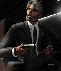 """""""They feared me because I feared nothing."""" (Roy Mildor/Top Striker / RM Art Of Poses CEO) Tags: magnificent uber vango momevent man male men guy gangster cool gun fotograf photographer profile sl secondlife maninblack malefashion roymildor maleblogger crystal"""
