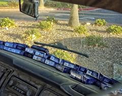 ALL YOU GOT IS TIME (akahawkeyefan) Tags: dashboard volkswagen shrubs fresno davemeyer windshield