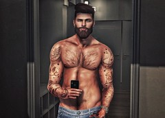 [ 📷 - 134 ] (insociable.sl) Tags: magnificient pose topless wardrobe dressing mirror male boy man model hipster beard ink tattoo hairy selfie phone smartphone photo pic edit sl secondlife
