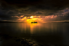 sunset 0314 (junjiaoyama) Tags: japan sunset sky light cloud weather landscape orange yellow color lake island water nature autumn fall reflection calm dusk serene rock composition