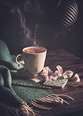 Tea time (Ro Cafe) Tags: stilllife tea teapot kettle teacup homely steam dark darkmood flowers textured nikkor105mmf28 sonya7iii