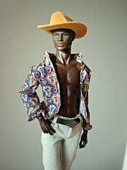 What a man! 😜 (Deejay Bafaroy) Tags: darius dariusreid fashion royalty fr integrity toys doll puppe black artofmanliness manliness convention 2019 fashionfigure portrait porträt hat hut cowboyhat cowboyhut yellow gelb blue blau red rot sunny sonnig