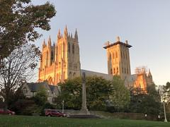 Washington National Cathedral, setting sun, from Pilgrim Road NW, Washington, D.C. (Paul McClure DC) Tags: washingtondc districtofcolumbia oct2019 autumn cathedral historic architecture nationalcathedral sunset