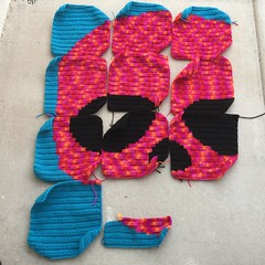 Five and two-thirds crochet panels left to go (crochetbug13) Tags: crochet crocheted crocheting crochetyarnbomb yarnbomb crochetrose crochetflower crochetmural crochetpanel crochetsquare
