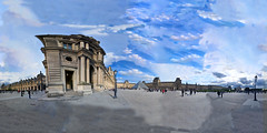 Savor Spectacular Paris France Weekend Outside Musee du Louvre In Full 360x360 Panorama - IMRAN™ (ImranAnwar) Tags: 360x360 architecture clouds d300 france history imran imrananwar louvre museum nikon paris sky spherical travel art culture equirectangular handheld pyramid travelogue