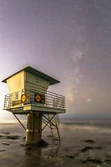 Lifeguard Tower and the Milky Way at Cardiff State Beach in San Diego (slworking2) Tags: cardiffbythesea california unitedstatesofamerica milkyway space night sky longexposure lifeguard lifeguardtower sandiego beach coast ocean pacific