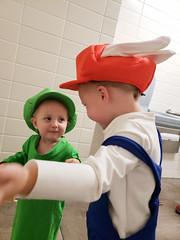 Rabbid Mario & Luigi conspire (quinn.anya) Tags: eliza toddler rabbidluigi mariorabbidskingdombattle halloween costume