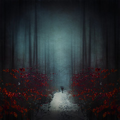 beguiling imagination (Dyrk.Wyst) Tags: germany abstract atmosphere baretrees cold foggy forest hike kalt landscape leaves light march misty mood wet nature outdoor red snowslush snow trees conceptual hiker umbrella dark photomanipulation symmetry teal solitude