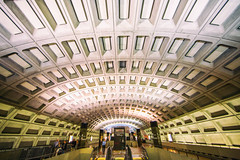 And As the Evening Descends (Thomas Hawk) Tags: america dc districtofcolumbia usa unitedstates unitedstatesofamerica washingtondc architecture escalator subway fav10 fav25