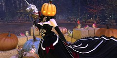 Pumpkin Princess (roxxiesukra) Tags: secondlife second life sl character halloween spoopy spooky pumpkin orange jack o lanter carving happy fun silly princess gown black royal cute funny bows razor cure smart female unicorn staff patch fire fog woods forest trees moochie